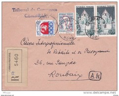 L4C399 France 1966 LAR Cambrai Nord   Pour Lille Aff Paire 0,70f Provins  0,30f Blason Paris 0,20f Marianne Cocteau Obl - Francia