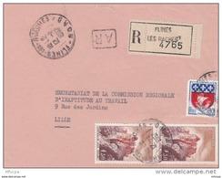 L4C404 France 1967 Devant LAR Flines Les Raches Nord Pour Lille Aff Paire 1,30f Joux  0,30f Blason Paris Obl Cad - Covers & Documents