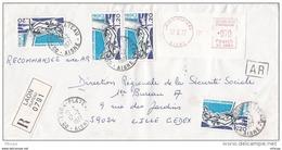 L4C407 France 1977 LAR Laon Aisne Pour Lille  Aff 4 X 1,20 Montréal  0,70f EMA Obl Cad - Cartas