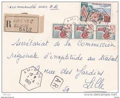 L4C409 France 1965 Devant LAR Amiens Somme Pour Lille Aff 1,90f Obl Cad Hexagonal Recette Auxilliaire Urbaine - Postmark Collection (Covers)