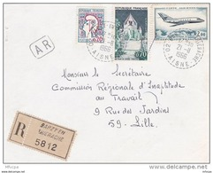 L4C413 France 1966 Devant LAR Barzy En Thiérache Aisne Pour Lille Aff 2,90f Obl Cad Bureau De Distribution B9 - Marcofilia (sobres)