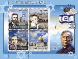 Sao Tome 2008 Leaders Of Israel ,Shimon Peres ,David Ben-Gurion , Lady  Golda Meir - Sao Tome And Principe