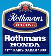 AUTOCOLLANT ROTHMANS RACING ROTHMANS HONDA 11ème PARIS-DAKAR 1989 - Autocollants