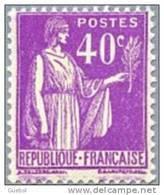 France Type Paix N°  281 ** De La 1 ère Série Le 40 Cts Lilas - 1932-39 Paix