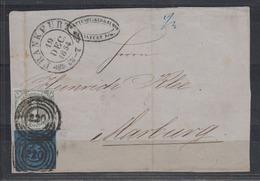 Thurn+Taxis MiNo. 7,8 Auf Briefvorderseite NoS 220 Und K2 Frankfurt 19.DEC 1854 - Thurn Und Taxis