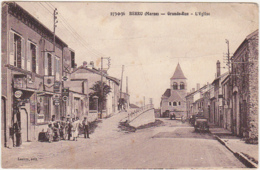 51 - BERRU (Marne) - Grande Rue - L'Eglise / Animation, Garage, Voitures / 1939 - France