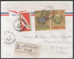 AFARS ET ISSAS:  N°359 + PA.n°64/65 Sur LSC REC. De DJIBOUTI De 1970 ! - Afars Et Issas (1967-1977)