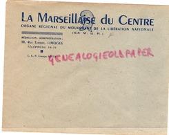 87 - LIMOGES - ENVELOPPE LA MARSEILLAISE DU CENTRE - MLN-MOUVEMENT LIBERATION NATIONALE- EX MUR-18 RUE TURGOT - Documenti Storici