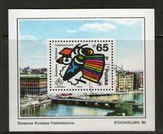 POLOGNE 1986 STOCKHOLMIA   YVERT N°B110 OBLITERE - Blocks & Sheetlets & Panes