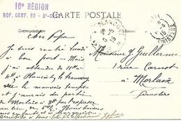 22-cachet Hôpital Comp. N°60 De St Cast Sur Belle CP De 1915-cachet Répété Au Verso - Storia Postale