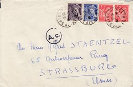 Env Reco Affr Y&T 407 + 413 + 433 X 2 Obl SAINT QUENTIN Du 18.1.41 Adressée à Strassburg Avec Censure Allemande - Poststempel (Briefe)