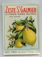 ALCOOL DISTILLERIE RAVEL ST GALMIER LOIRE ETIQUETTE ZESTE CITRON SANS ALCOOL TBE - Reclame