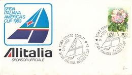 SFIDA ITALIANA AMERICA'S CUP 1983 - ANNULLO 24.8.1983 SU BUSTA DELLA MANIFESTAZIONE - ALITALIA SPONSOR UFFICIALE - 1981-90: Storia Postale