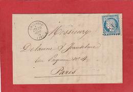 Aude - Chalabre - GC 837 Sur Cérès - LAC 1874 - Postmark Collection (Covers)