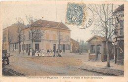 PIE.Z.VI.19-553 : CHATILLON SOUS BAGNEUX. AVENUE DE PARIS. CARTE COULEUR. OCTROI MALAKOFF ET MONTROUGE - Châtillon