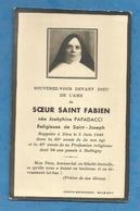 GENEALOGIE FAIRE PART DECES   SOEUR FABIEN PAPADACCI  BALBIGNY FOREZ ROANNE - Obituary Notices