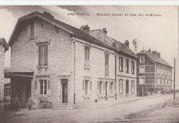 CPA 02 PROUVAIS MAISON JONET (EDITEUR CP) RUE DU CHATEAU MOTOCYCLETTE - France