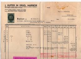 11.03.1941 YUGOSLAVIA, SLOVENIA, MARIBOR, J HUTTER IN DRAG, TREAD MAKING INVOICE ON A LETTERHEAD, 5 DIN REVENUE  STAMP - Invoices & Commercial Documents