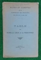 Table Des Noms De Lieux Et De Personnes De La Commune De Provins De L'an 1271 à L'an 1330 - Année 1935 - History