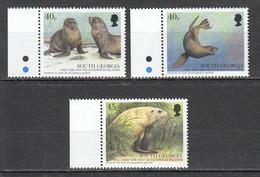 W128 SOUTH GEORGIA FAUNA MARINE LIFE FUR SEALS 3ST MNH - Marine Mammals