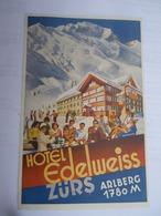 Etiquette De Bagage Hotel EDELWEISS Zürs Arlberg 1780 M - Illustrateur Hans OBERBACHER - Zürs