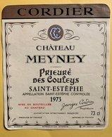 11570 -  Château Meyney Prieuré Des Couley 1973 Saint-Estèphe - Bordeaux