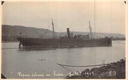 "Carte Photo Ancienne Cargo Vapeur ""Trecenna ""  échoué En Seine Juillet 1917 - Handel"