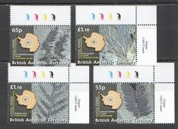 W159 BRITISH ANTARCTIC TERRITORY FOSSILS FERNS #475-78 MICHEL 25 EURO SET MNH - Fósiles