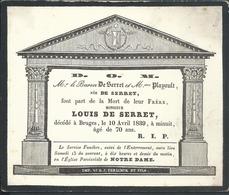Faire-part De Décès 1839 Bruges Louis De Serret - Décès