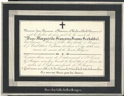 Faire-part De Décès 1847 Bruges Dame Marguerite-Françoise-Jeanne Serdobbel  Enterrement Ste Croix - Décès