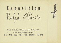 Carte D'invitation - Exposition Ralph ALBERTO - 21 Oct. 1958 - Paris 7ème - Rue Montalembert - Photographie
