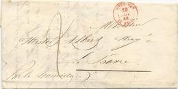 LETTRE DE MONTEVIDEO 1844  AVEC CACHET D'ENTREE MARITIME OUTREMER LE HAVRE - Marcofilia (sobres)