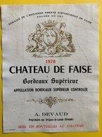 11589  - Château De Faise 1970 - Bordeaux