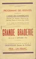 Grande Braderie  St Gilles Bruxelles 1933 Nombreuses Publicités Illustrées ...28 Pages - Programmes