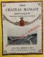 11600  - Château  Mangot 1969 Saint-Emilion - Bordeaux