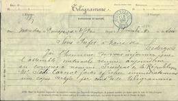 Télégramme Càd WATTERDAM EC/NORD/1887 Pour Lederzeele Nomination Du Président De La République Sadi Carnot - Autres