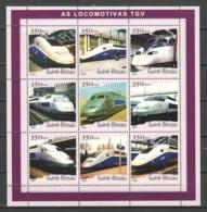 Guinee Bissau 2001 Kleinbogen Mi 1854-1862 MNH TGV LOCOMOTIVES - Trains