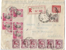 Recommandé De TAYNINH à SAIGON  1942 - Indochine (1889-1945)