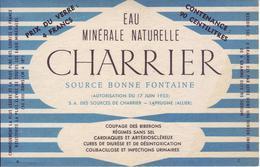 - Etiquette: Eau Minérale Naturelle. Charrier Source Bonne Fontaine - Laprugne (Allier) - Modèle 2 - - Labels