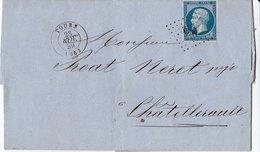 Lettre De Tour à Chatellerault, Oblitération Losange Peit Chiffres 3398 23 11 1859 - Marcophilie (Lettres)