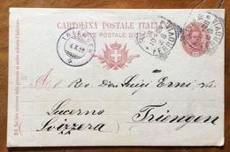 CARTOLINA POSTALE 10 C. (mill.98) PER L'ESTERO : DA ROMA A TRIENGEN (d.c. Sul Fronte) - 1900-44 Vittorio Emanuele III