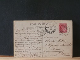 A10/284 CP INDIA TO BELG.   CACHET SEA POST OFFICE - 1902-11 Roi Edouard VII