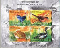 5X INDIA 2006 Endangered Birds Of India; Miniature Sheet, MINT - India