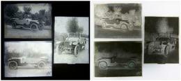 Voiture Delage ? 3 X Plaque De Verre Ca 1910 - Automobiles