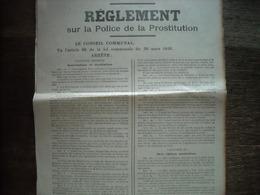 Affiche Communale (athentique) Loi Sur La Prostitution 1836 - Décrets & Lois