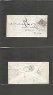 "COLOMBIA. 1875 (22 Oct) Bogota - France, Paris (17 Nov) Complete Envelope Fkd 10c Lilac Correos Nacionales, Oval Blue ""B - Colombia"