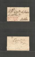 """COLOMBIA. C. 1821. S. Pedro - Medellin. Entre Cacheted """"S. Pedro / Franca"""" (xxx/R) Red Box Medium """"E"""" Of Pedro. Lovely E - Colombia"""