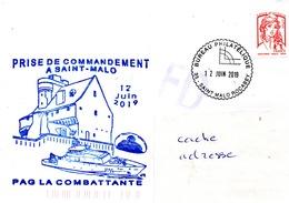 PATROUILLEUR LA COMBATTANTE Prise De Commandement à St Malo Obl. St Malo Bureau Philatélique 12/06/19 - Poste Navale