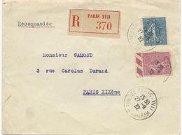 LETTRE RECOMMANDEE 1932 AVEC 2 TIMBRES AU TYPE SEMEUSE - Storia Postale