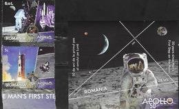 ROMANIA, 2019, MNH, SPACE, MOON LANDING, 2v+S/SHEET - Space